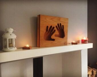 Solid Oak Hands Wall Light