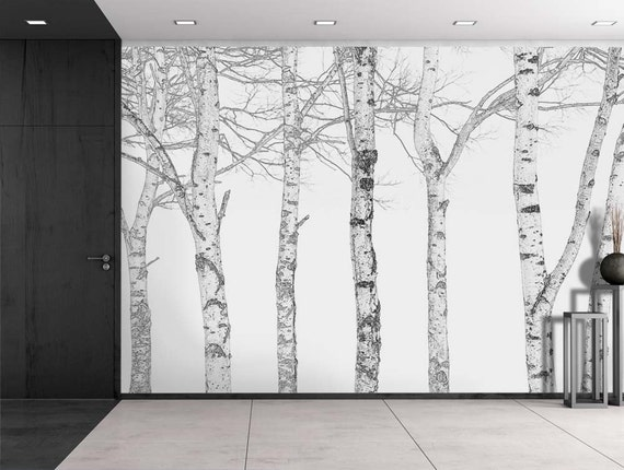 Black and white outline of aspen trees wall mural 66x96 for Aspen tree wall mural