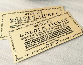 Willy Wonka Golden Ticket, Shiny Gold Ticket, Charlie Chocolate Factory Movie Party Birthday, Child Birthday Party
