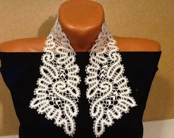 Bobbin Lace Collar. Russian Vologda Lace. Hand made  Linen. White.
