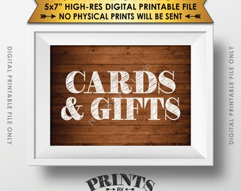 "Cards and Gifts Sign, Gifts Table, Gifts and Cards Wedding Sign, Birthday, Shower, Instant Download Rustic Wood Style 5x7"" Printable File"