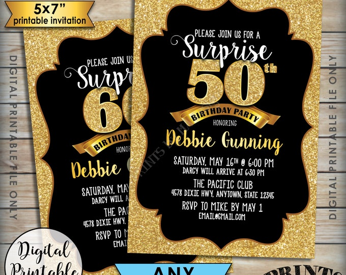 "Surprise Birthday Party Invitation, Black & Gold Invite, 30th 40th 50th 60th 70th Birthday Invite, Gold Glitter 5x7"" Digital Printable File"