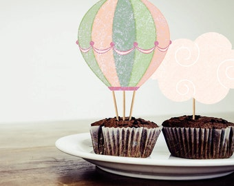 Hot Air Balloons Cupcake Toppers ~ INSTANT DOWNLOAD