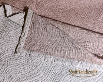 Flax King size quilts Double sided quilt brownish-ruby linen Flax quilted bedspread linen quilt Natural linen Bedspread King size