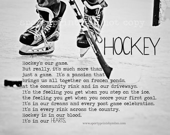 8x10 Hockey in our Hearts Print