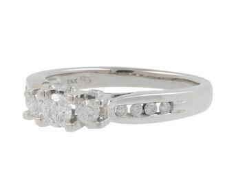 Ladies Vintage Classic Estate 14K White Gold Three-Stone with Accent Diamond Ring - 0.58CTW