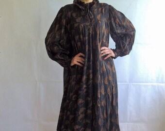 80s Vintage Victorian Neck Layered Maxi Dress