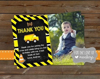 Construction Thank You Card, Birthday Thank You Card, Printable Thank You Card