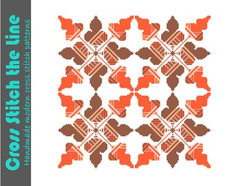Autumn oak leaves cross stitch tile. Modern design in fall colours. Contemporary cross stitch pattern for instant download.