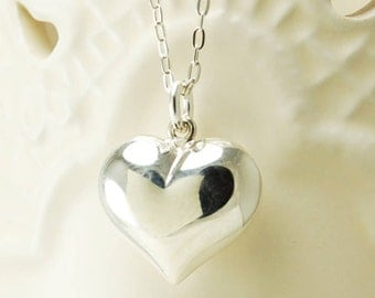Large Silver Heart Necklace ~ Bridesmaid, Wedding, Anniversary, Birthday Gift