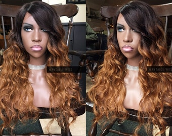 Lace Front HUMAN HAIR Blend Wig // Ombre Brown Auburn Red + Swiss Lace Part // Wavy Dark Root // Heat SAFE