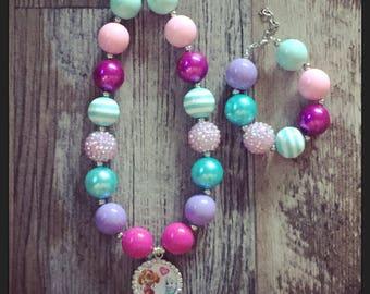 Paw patrol chunky necklace and bracelet set