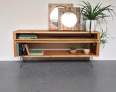 Low Stacked Sideboard Console Storage TV Stand on Hairpin Legs.