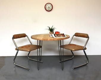 Round Solid Oak Kitchen Dining Cafe Table on Mid Century Hairpin Legs