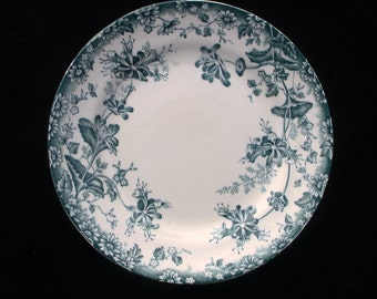Antique Victorian Aquamarine Floral side plate 7.5 inches (Three available)