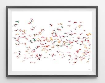 Birds flocking Watercolor Print flock poster birds illustration group of birds flocking wall art decor gift flock giclee print [NO 41]
