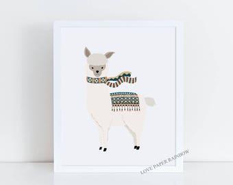 alpaca, llama, alpaca print, llama print, llama wall art, alpaca wall art, nursery print, kids bedroom print, animal nursery art