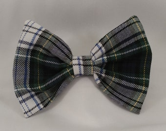 White Plaid School Uniform Hair Bow