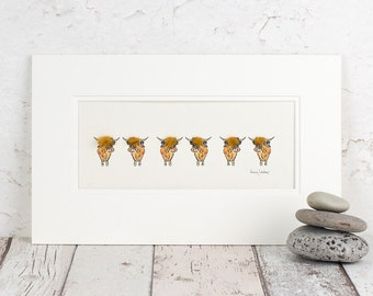Highland Cows Print, Woolly Highland Cattle artwork, Hand finished with real wool