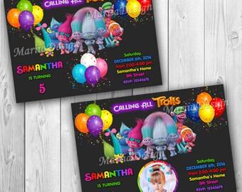 Trolls Birthday Invitation, Trolls Invitation, Trolls Birthday Party, Trolls Party Invitation, Trolls Invitation with Photo - ONLY FILE