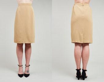 Sale! 80s Jones New York Beige Mustard Pencil Skirt • XL