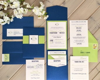 Navy and Lime Green Wedding Invitations, Pocket Invitations, Blue and Lime Invitations, Shimmery Blue and Lime Green, Blue and Green Wedding