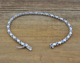 14K White Gold, Diamonds, & Sapphires 7.5 inch bracelet, 7.9 grams, 3.5cttw