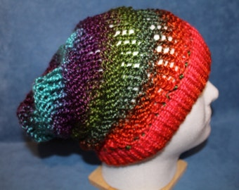 Hand Knitted Rainbow Slouchy Hat