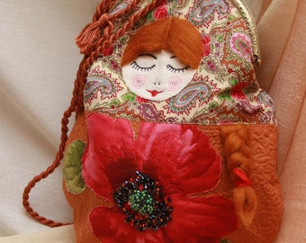 Russian Souvenir Bag Matryoshka Folk Style Bag Textile Bag Original Orange Bag Matriochka Russe Sac Souvenir Русский Сувенир Сумка Матрешка