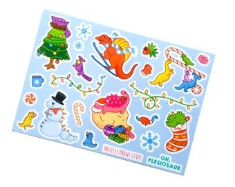 Dinosaur Holiday Stickers (dinosaur Christmas stickers cute stickers planner stickers paleontology dinosaur art t rex triceratops baby dino)