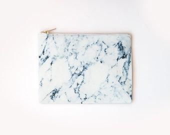 White Bleu Marble Organic Cotton Clutch, Zipper Pouch, Print Organic Fabric