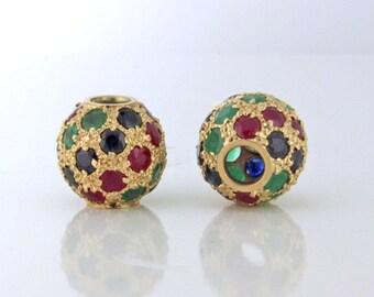 Gemstone Encrusted Slide Pendants Ruby Emerald Sapphire 14k gold circa 1978 - PENCOL10039