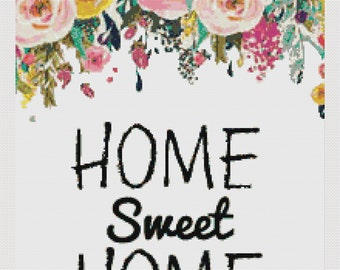 Cross stitch pattern modern. home sweet home, DPF pattern download. Patrón punto de cruz moderno descargable PDF Y JPG.