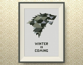 BUY 2, GET 1 FREE! House Stark. Game of Thrones cross stitch pattern, Geometric cross stitch pattern, Instant Download, #P145