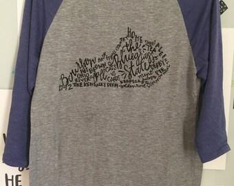 hand Lettered THE BLUEGRASS STATE Kentucky Word Art Raglan