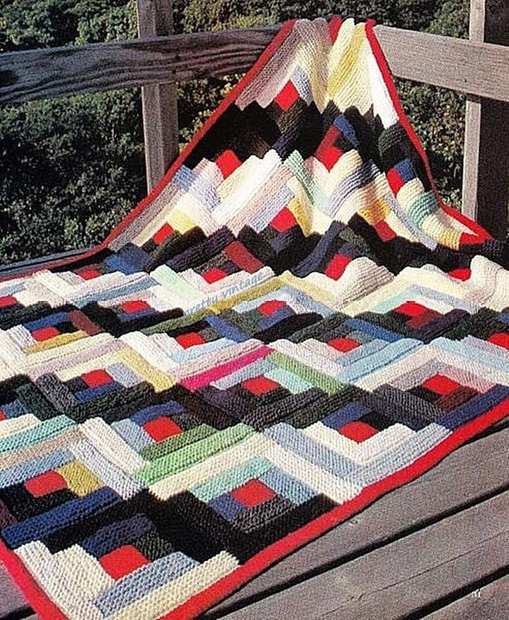 pdf log cabin afghan knitting pattern vintage retro