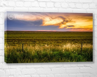 Canvas wall art, Prairie sky, fence post photography, living room decor, office wall art, large canvas, multi panel, plains wall picture