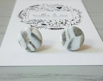 Polymer clay earrings, grey and white earrings, swirl clay stud earrings, clay earrings, earrings,