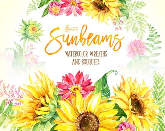 Sunbeams. Wreaths and Bouquets. Watercolor floral clipart, sunflowers, yellow, wedding, greeting card, flourish, diy, country, flower, sunny
