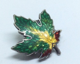 Vintage Sterling Enamel Maple Leaf Pin for Fall Autumn Canadian Lovers