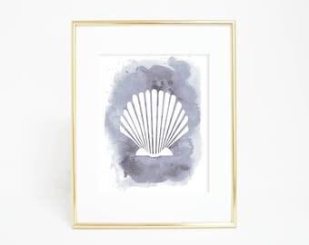 Bathroom Art Print, Shell Poster Large, Gray Wall Art, Watercolor Shell Print, Coastal Artwork, Beach Decor, Seashell Painting, wall Prints
