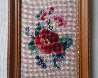 Vintage Framed Needlepoint Flowers Rose Pansies Hand-Stitched Floral Wall Art Picture