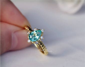 Pear Natural Apatite Ring 14K Gold Apatite Ring Wedding Ring Promise Ring Anniversary Ring Present