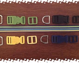 5/8 Wide Custom Made Adjustable Striped Pattern Dog Collar