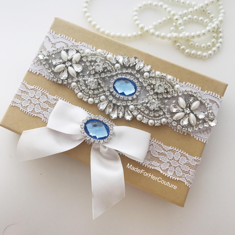 Something Blue Garter Set Light Blue Wedding Garter Baby