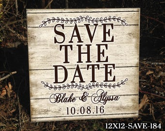 """12""""x12"""" Save The Date, Save The Date Idea, Custom Wedding Sign, Prop for Engagement Pictures, Engagement Picture Ideas, Prop, Sign, Wedding"""