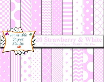 Strawberry Pink Digital Paper Pack, Pink Paper for Cardmaking, Pink Digital Scrapbook Paper 12x12 Digital File, Instant Download
