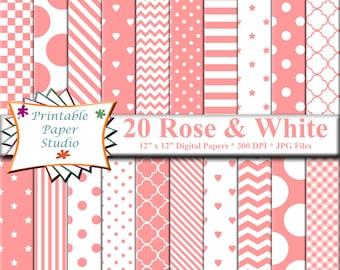 Rose Pink Digital Paper Pack, Pink Paper for Cardmaking, Pink Scrapbook Paper 12x12, Pink Patterned Paper, Instant Digital Download