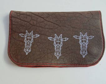 Tobacco leather and origami and salamander giraffe print