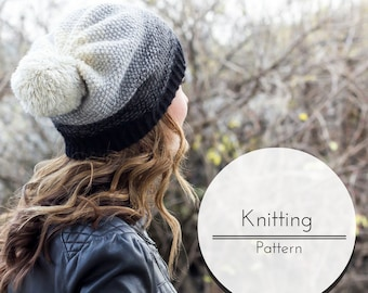 Knitting Pattern, Knit Hat Pattern, PDF Knitting Pattern, Easy Colorwork Knitted Pattern, Pompom Slouchy Hat Pattern, Ombre Hat Design